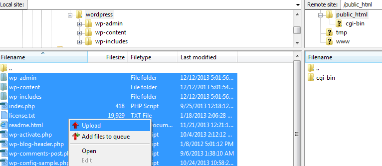 Upload Wordpress using FTP