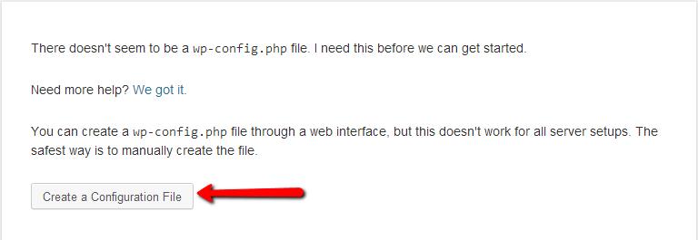 Wordpress install create configuration file