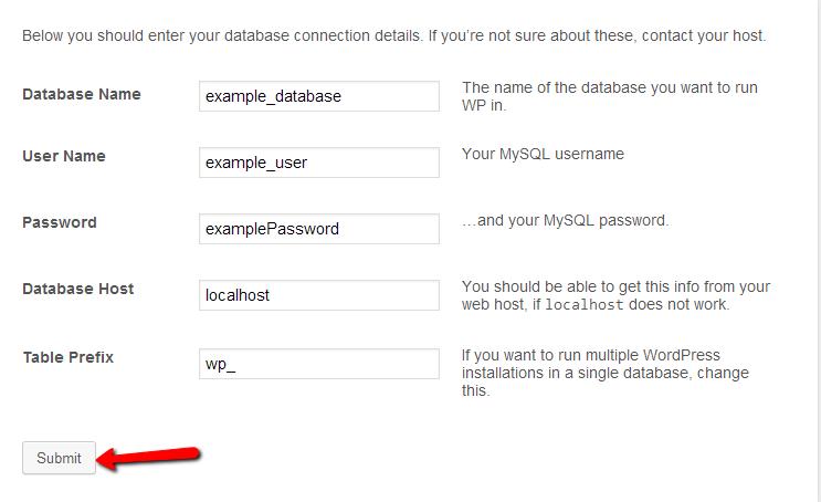 Wordpress installation database settings