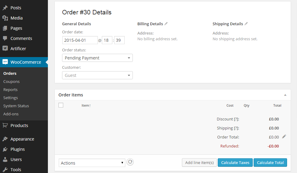 configuring the order details
