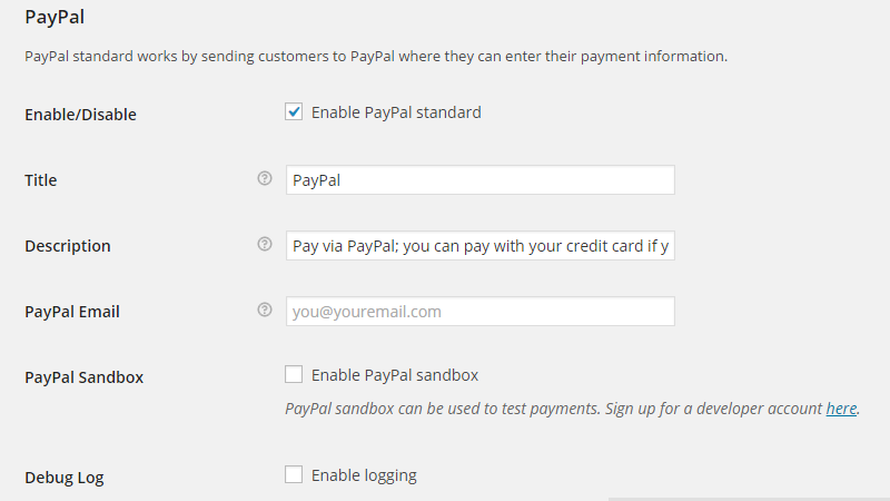 configuring the paypal payment method