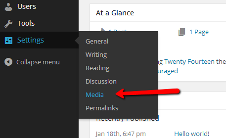 wordpress media settings