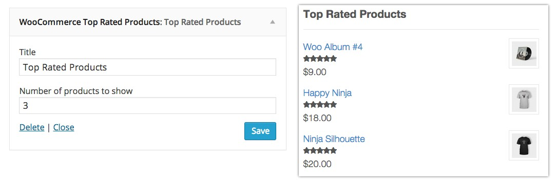 widget woocommerce top rated products