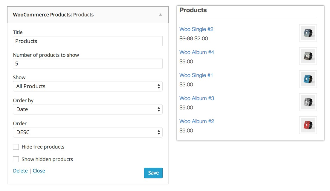 widgets woocommerce products