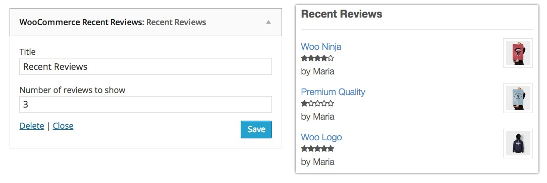 widgets woocommerce recent reviews