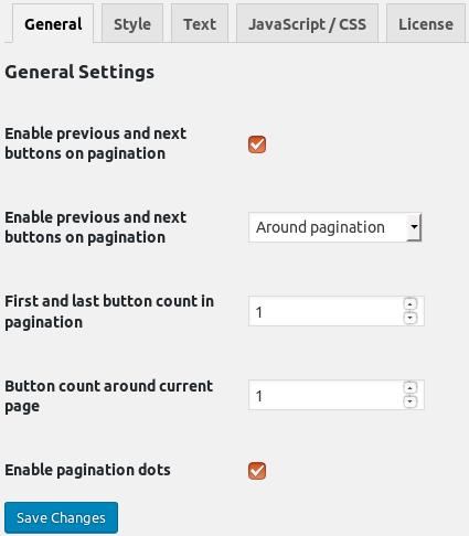 General plugin settings. WooCommerce -> Pagination Styler -> General