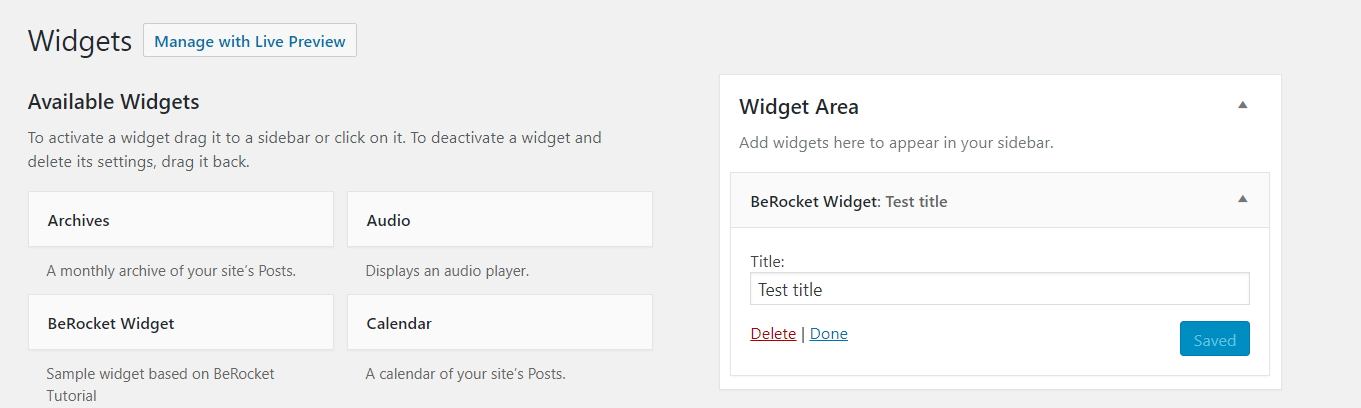 Custom WordPress widget added to a sidebar