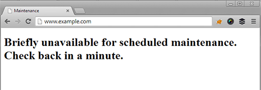 Unavailable for Maintenance notification in WordPress