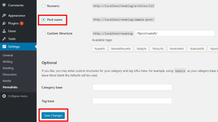 how to set wordpress permalinks