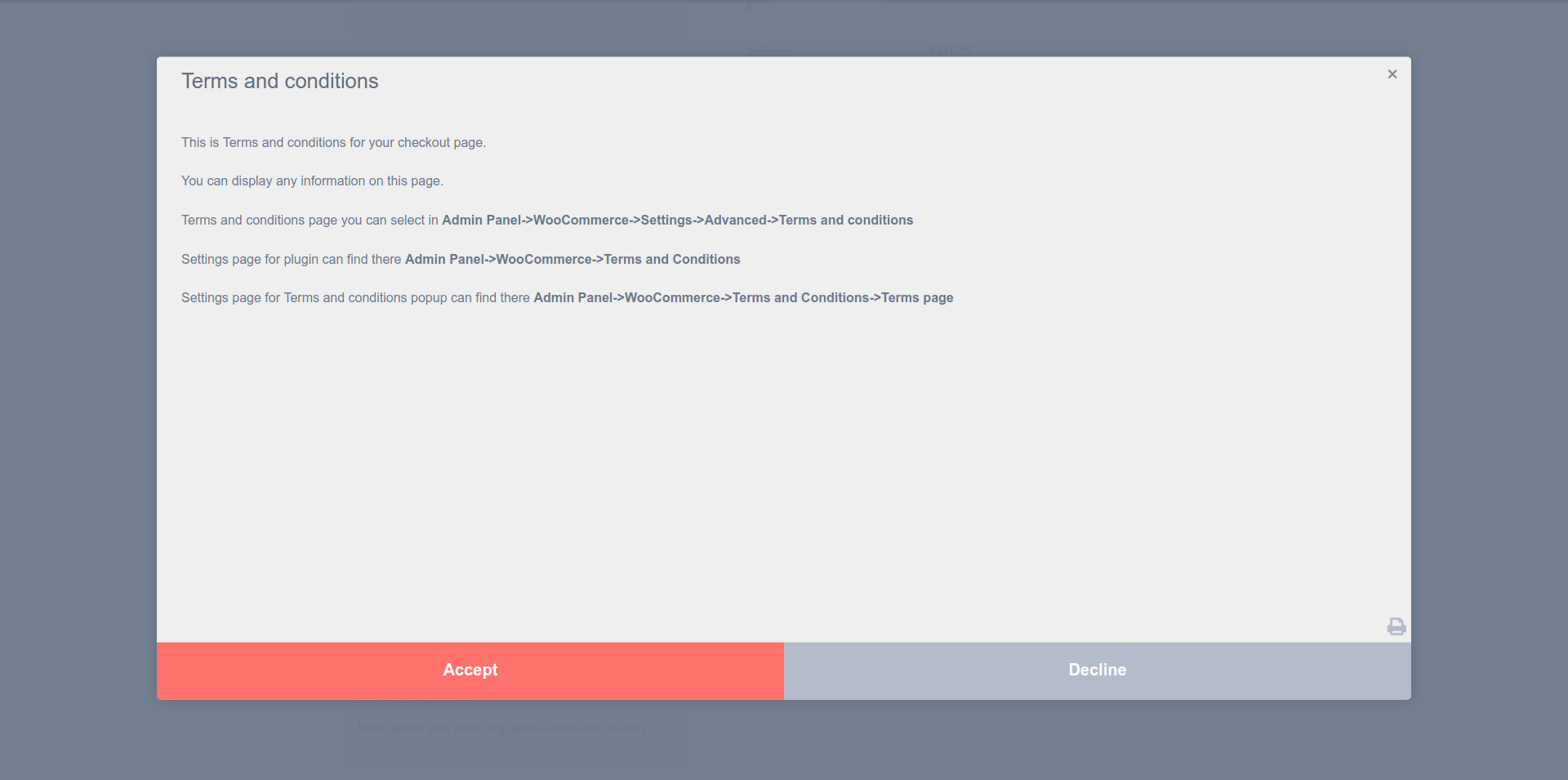 Templates Full Footer Buttons. WooCommerce -> Terms and Conditions Popup -> Templates