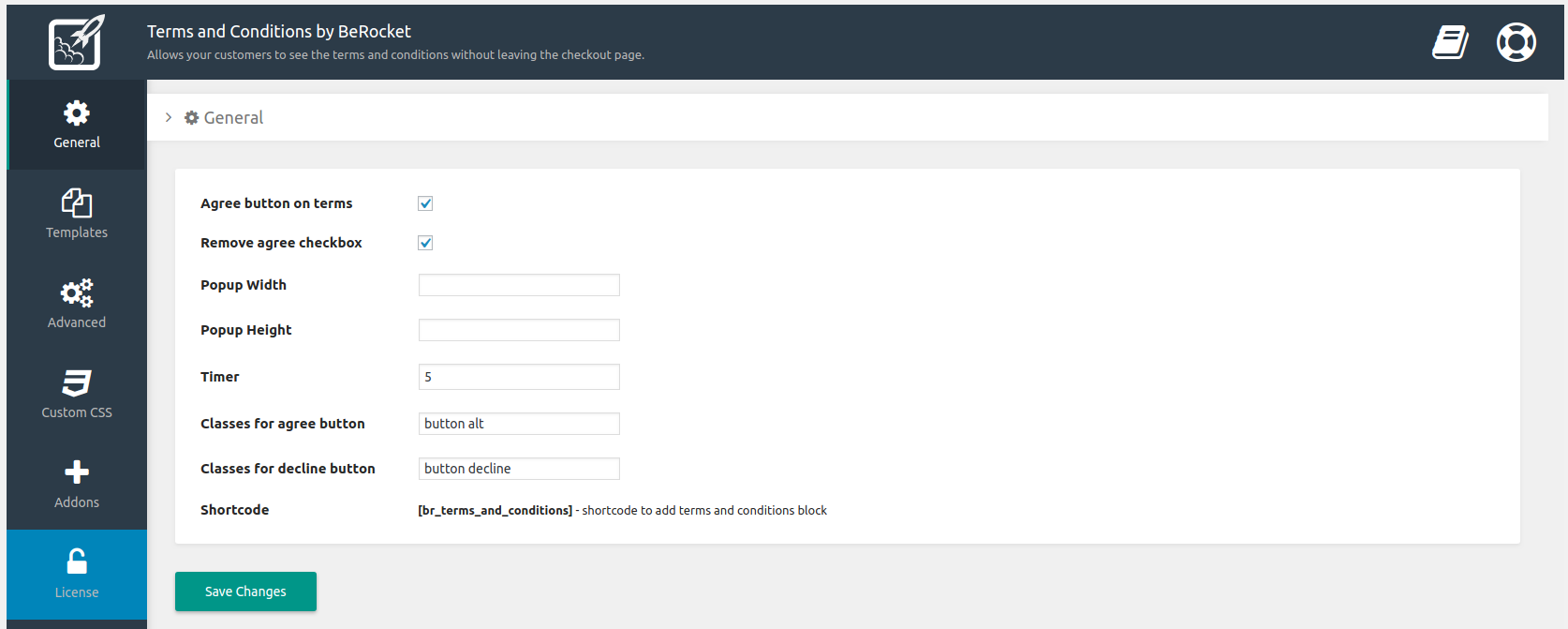 General plugin settings. WooCommerce -> Terms and Conditions Popup -> General