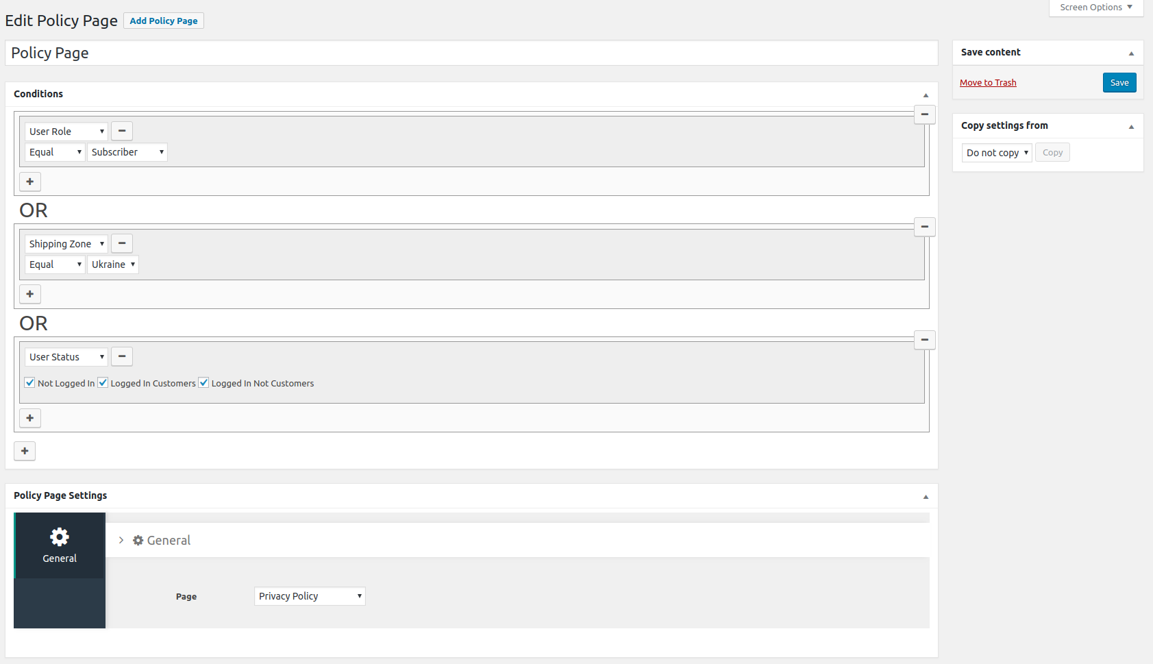 Edit Policy Page. WooCommerce -> Terms and Conditions Popup -> Policy Page