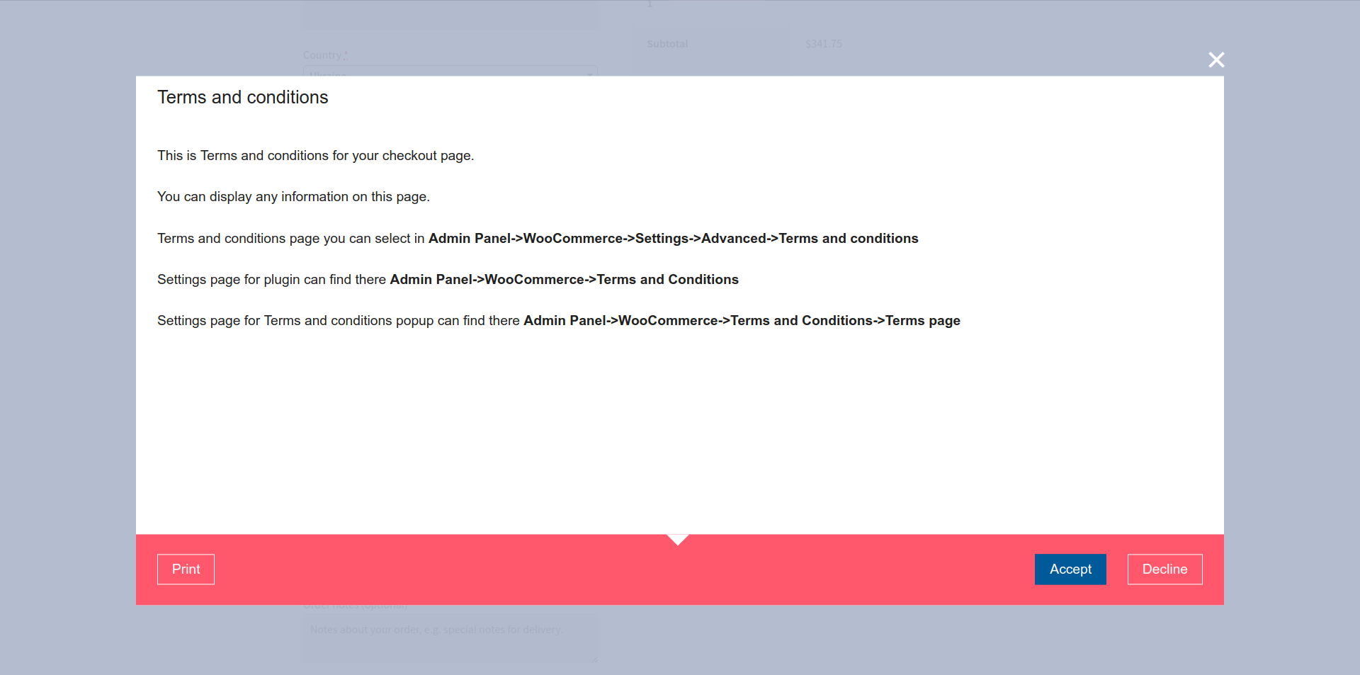 Templates Separate Footer. WooCommerce -> Terms and Conditions Popup -> Templates